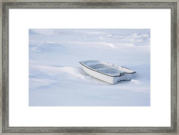 The White Fishing Boat Framed Print