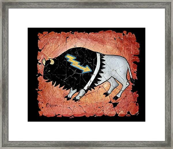 The White Sacred Buffalo Fresco Framed Print