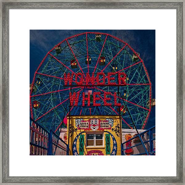 The Wonder Wheel At Luna Park Framed Print