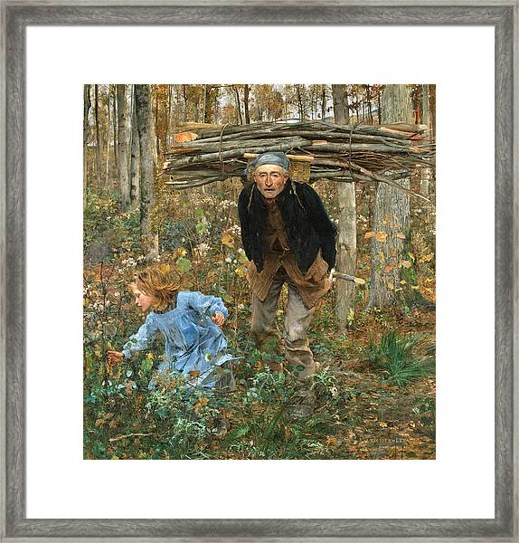 Framed Print featuring the painting The Wood Gatherer by Jules Bastien-Lepage