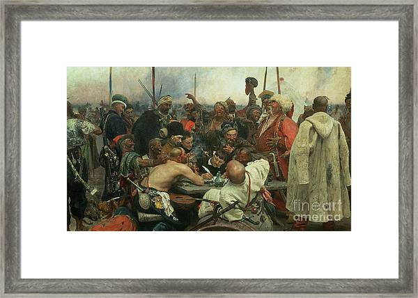 The Zaporozhye Cossacks Writing A Letter To The Turkish Sultan Framed Print
