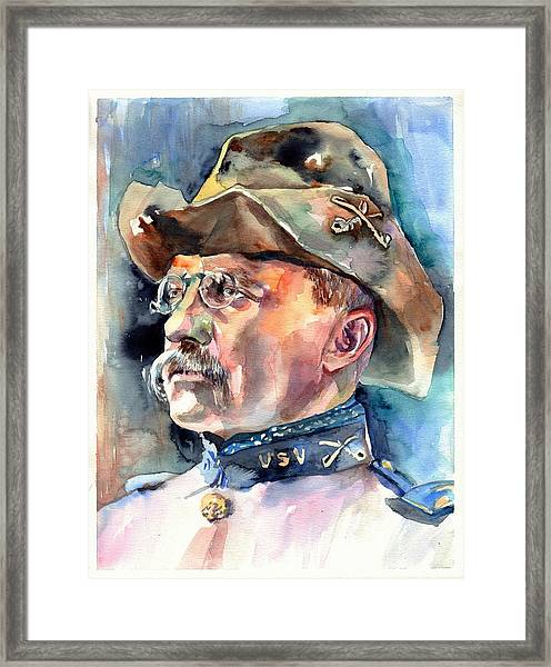 Theodore Roosevelt Portrait Watercolor Framed Print