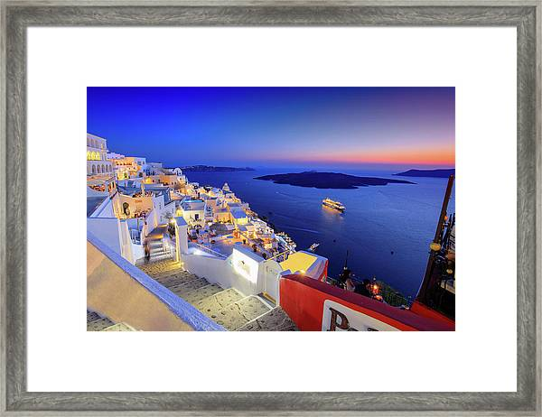 Thera Sunset  Framed Print