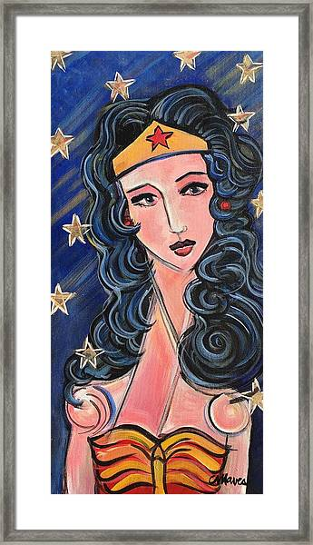 Framed Print featuring the painting There's A Wonder Woman In Us All by Laurie Maves ART