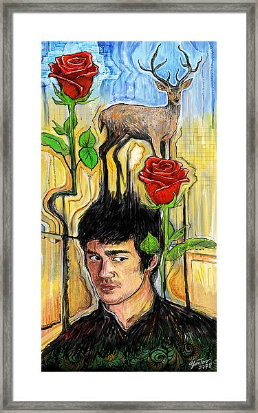 They Call Me Deer Flowers Framed Print