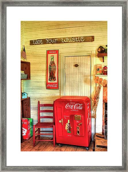 Thirst-quencher Old Coke Machine Framed Print