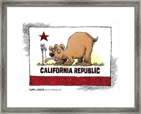 Thirsty California Flag Framed Print
