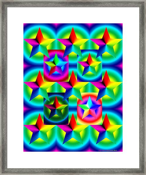 Thirteen Stars With Ring Gradients Framed Print