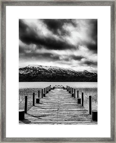 Landscape With Lake And Snowy Mountains In The Argentine Patagonia - Black And White Framed Print