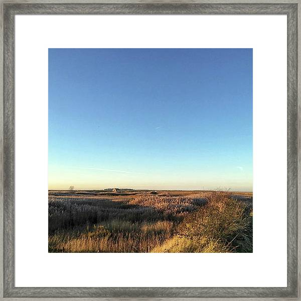 Thornham Marsh Lit By The Setting Sun Framed Print