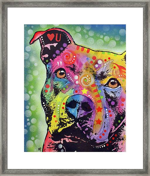 Thoughtful Pit Bull White Bubble Framed Print