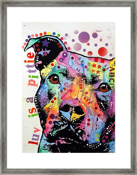 Thoughtful Pitbull Luv Is A Pittie Framed Print