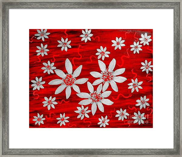 Three And Twenty Flowers On Red Framed Print