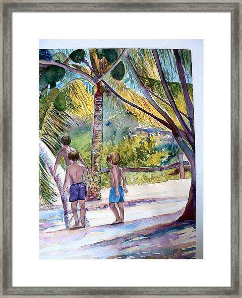 Three Boys Climbing Framed Print