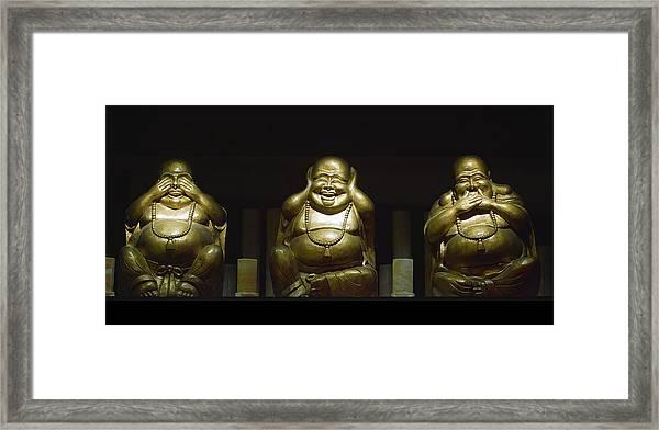 Three Buddhas Framed Print