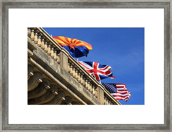 Three Flags At London Bridge Framed Print
