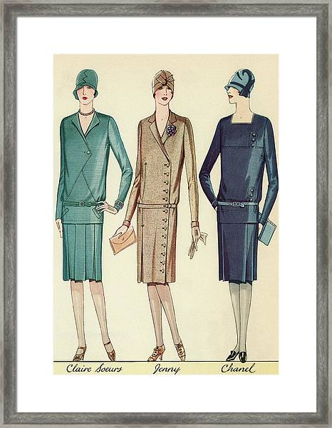 Three Flappers Modelling French Designer Outfits, 1928 Framed Print