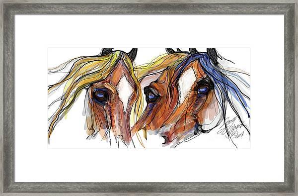 Three Horses Talking Framed Print