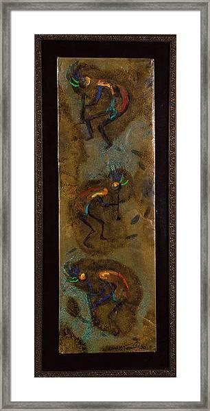 Three Kokopelli Framed Print