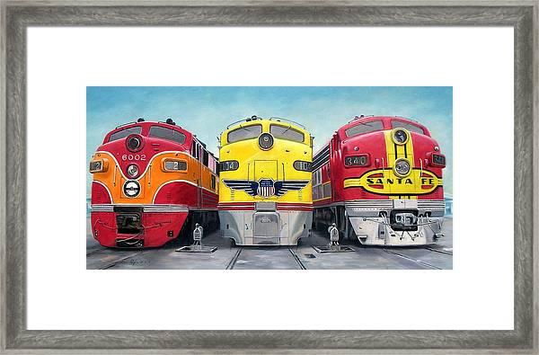 Three Locomotives Framed Print