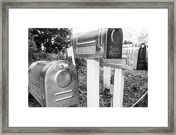Three Mailboxes Framed Print