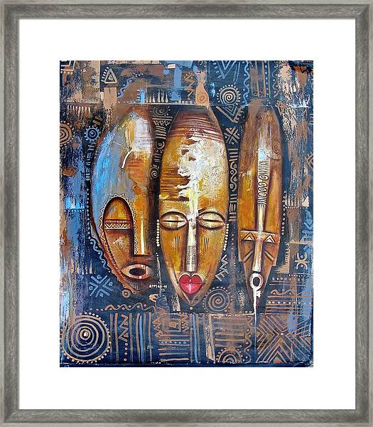 Three Masks Framed Print
