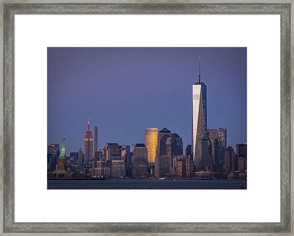Three New York Symbols Framed Print