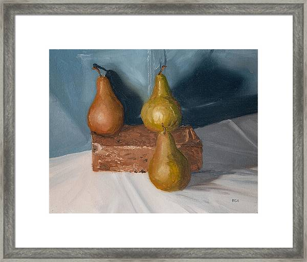 Framed Print featuring the painting Three Pears by Break The Silhouette