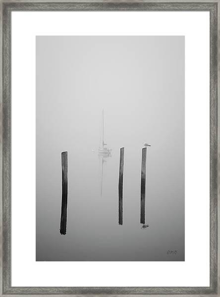 Three Pilings And Sailboat Framed Print