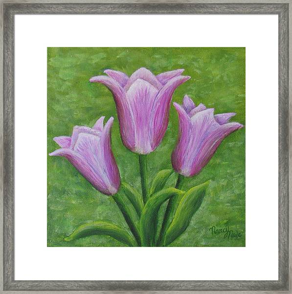 Framed Print featuring the painting Three Pink Tulips by Nancy Nale