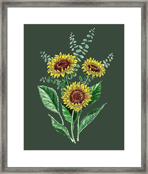 Three Playful Sunflowers Framed Print