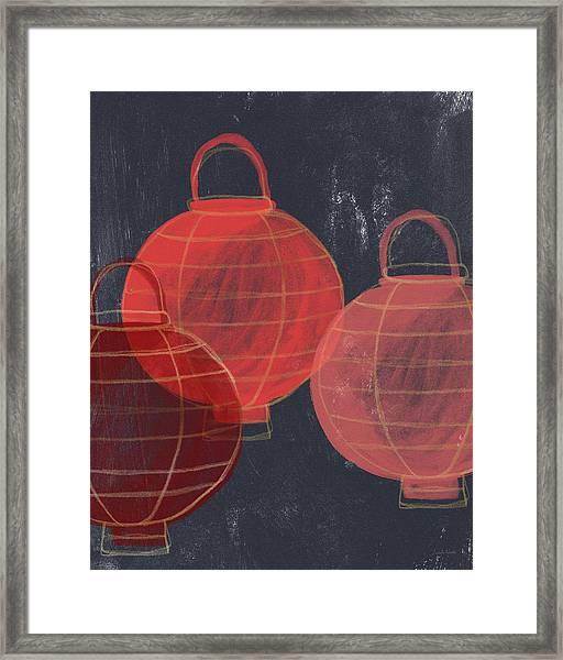 Three Red Lanterns- Art By Linda Woods Framed Print