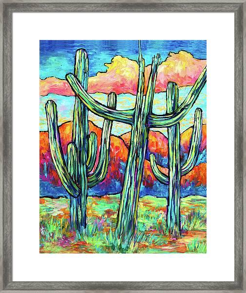 Three Saguaros Framed Print