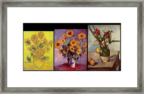 Three Vases Van Gogh - Monet - Cezanne Framed Print