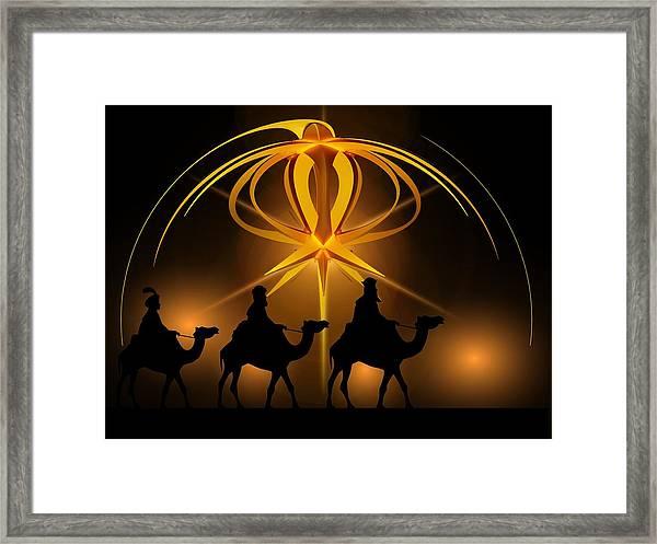 Three Wise Men Christmas Card Framed Print