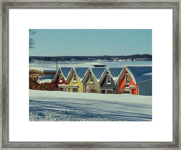 Winter View Ti Park Boathouses Framed Print