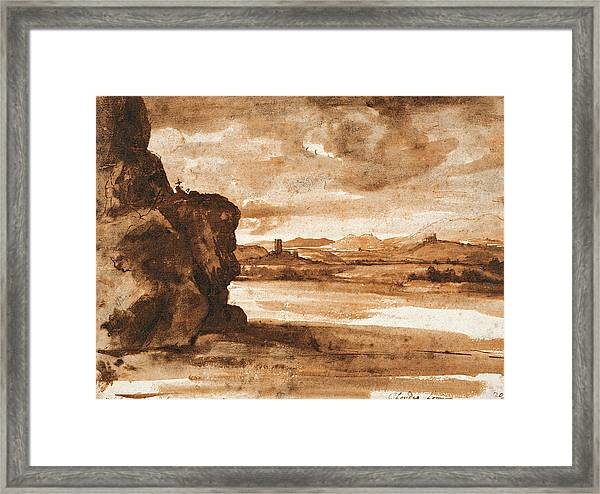 Tiber Landscape North Of Rome With Dark Cloudy Sky Framed Print