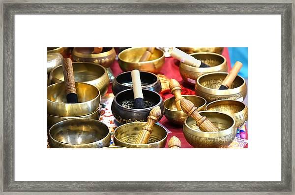 Tibetan Bronze Singing Bowls Framed Print