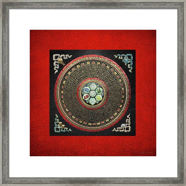 Tibetan Om Mantra Mandala In Gold On Black And Red Framed Print