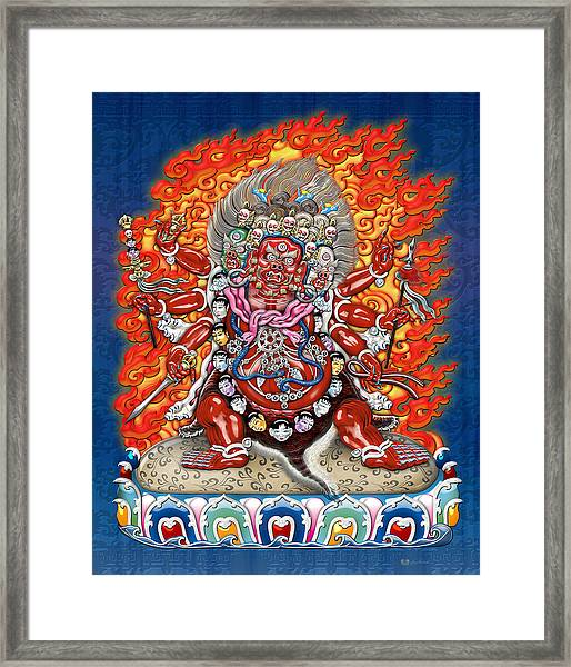 Tibetan Thangka Remake - Hayagriva Framed Print