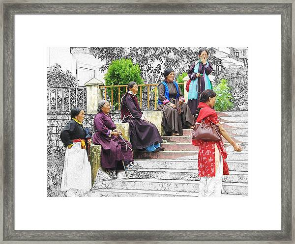 Tibetan Women Waiting Framed Print