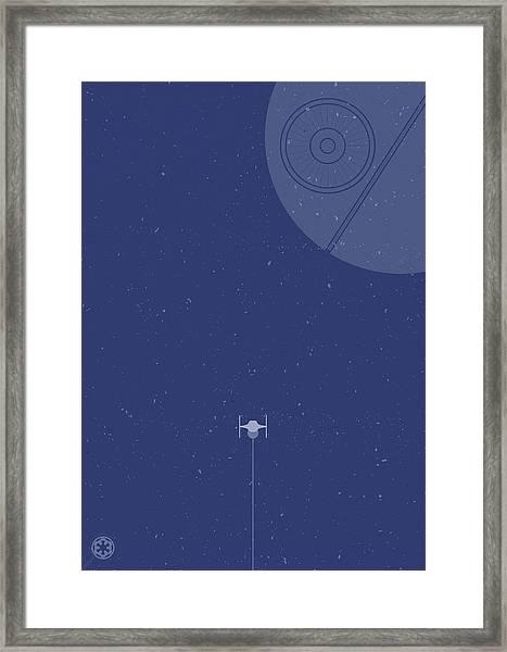 Tie Fighter Defends The Death Star Framed Print
