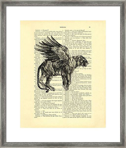 Tiger With Angel Wings In Black Ad White Framed Print