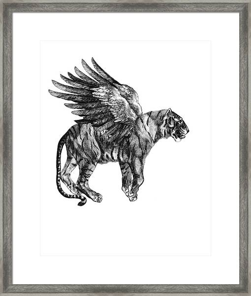 Tiger With Wings, Black And White Illustration Framed Print