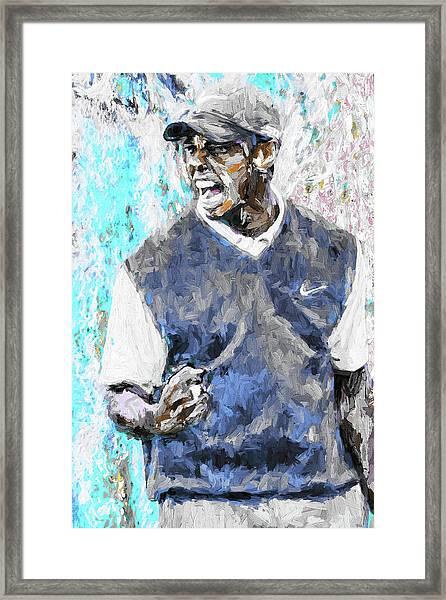Tiger Woods One Blue Golfer Digital Art Framed Print