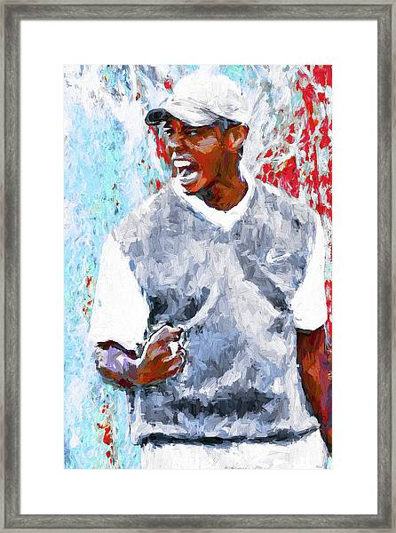 Tiger Woods One Two Red Painting Digital Framed Print