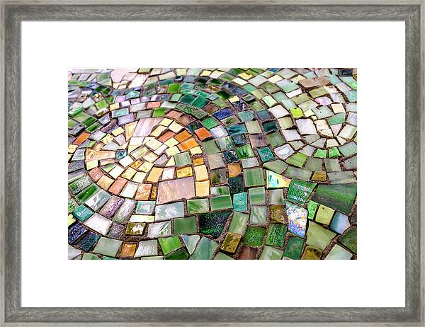 Tiles In Green Blue And Gold In Savannah Georgia Framed Print