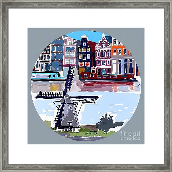 Tilting Windmills Framed Print