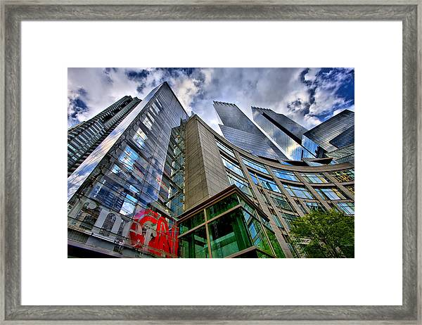 Time Warner Buildings At Columbus Circle Framed Print