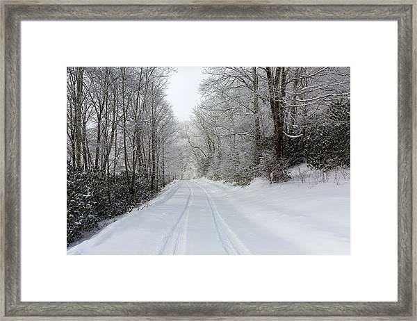 Framed Print featuring the photograph Tire Tracks In Fresh Snow by D K Wall
